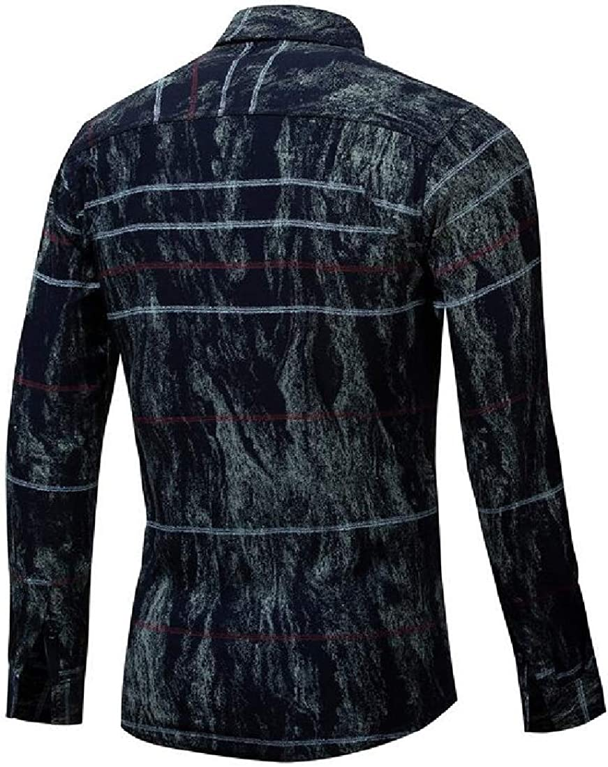 Suncolor8 Mens Stripe Print Long Sleeve Slim Business Cotton Button Down Dress Work Shirt