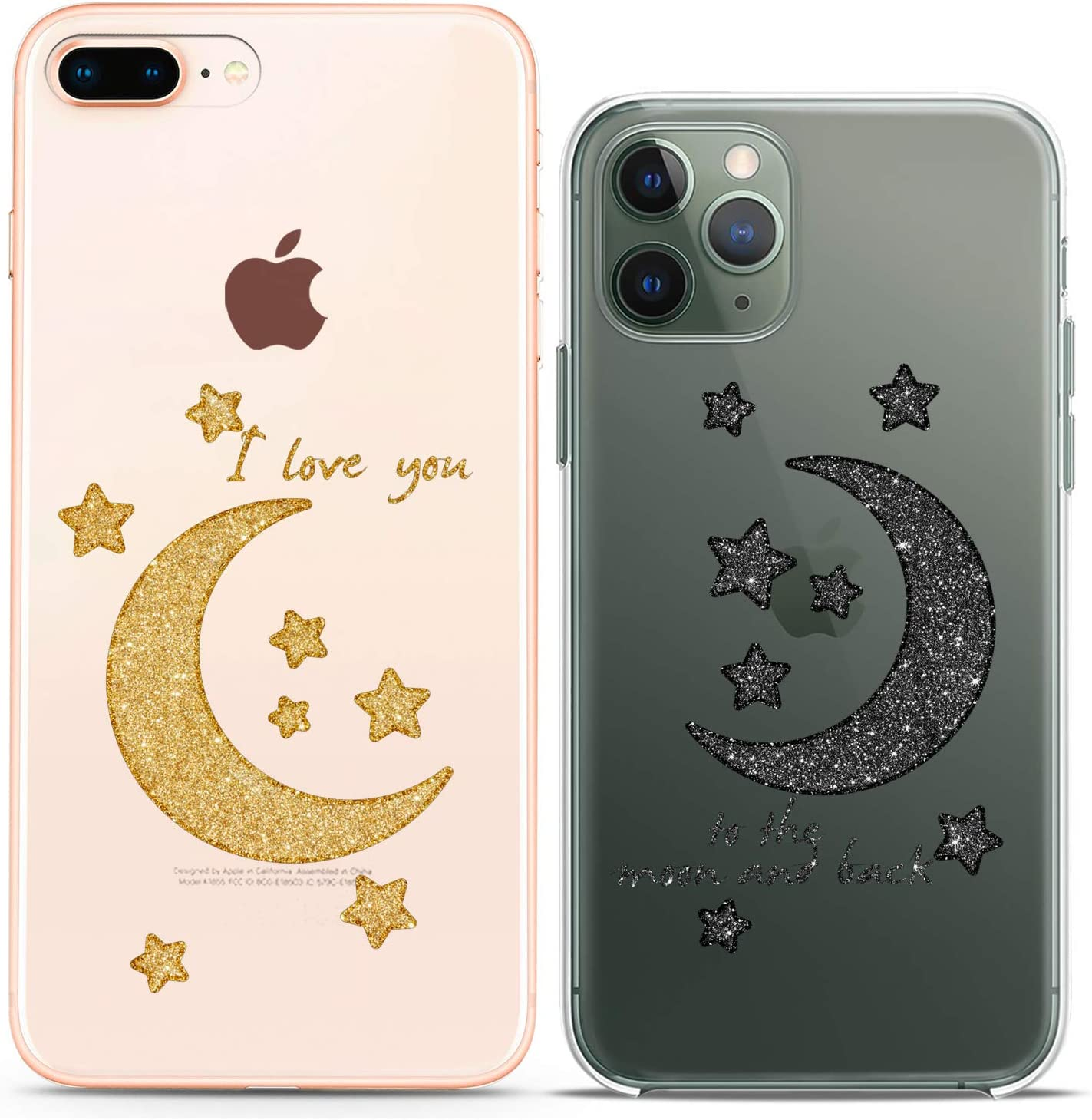 Cavka Matching Couple Cases Compatible with iPhone 12 Pro 5G Mini 11 Xs Max 6s 8 Plus 7 Xr 10 SE X 5 Clear I Love You to The Moon and Back Stars Relationship Cute Silicone Cover Anniversary Friends