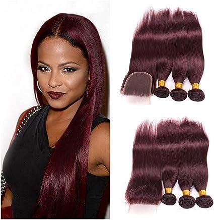 Mila 99J- Extensiones de pelo humano puro de color rojo ...