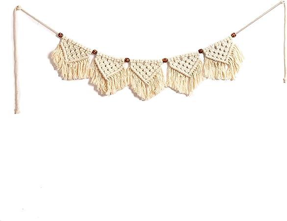EiYYA Macramé para colgar en la pared, hecho a mano, tapiz tejido, guirnalda de crochet, pancarta para decoración Boho Home Boho, algodón, beige, 5-Flag: Amazon.es: Amazon.es