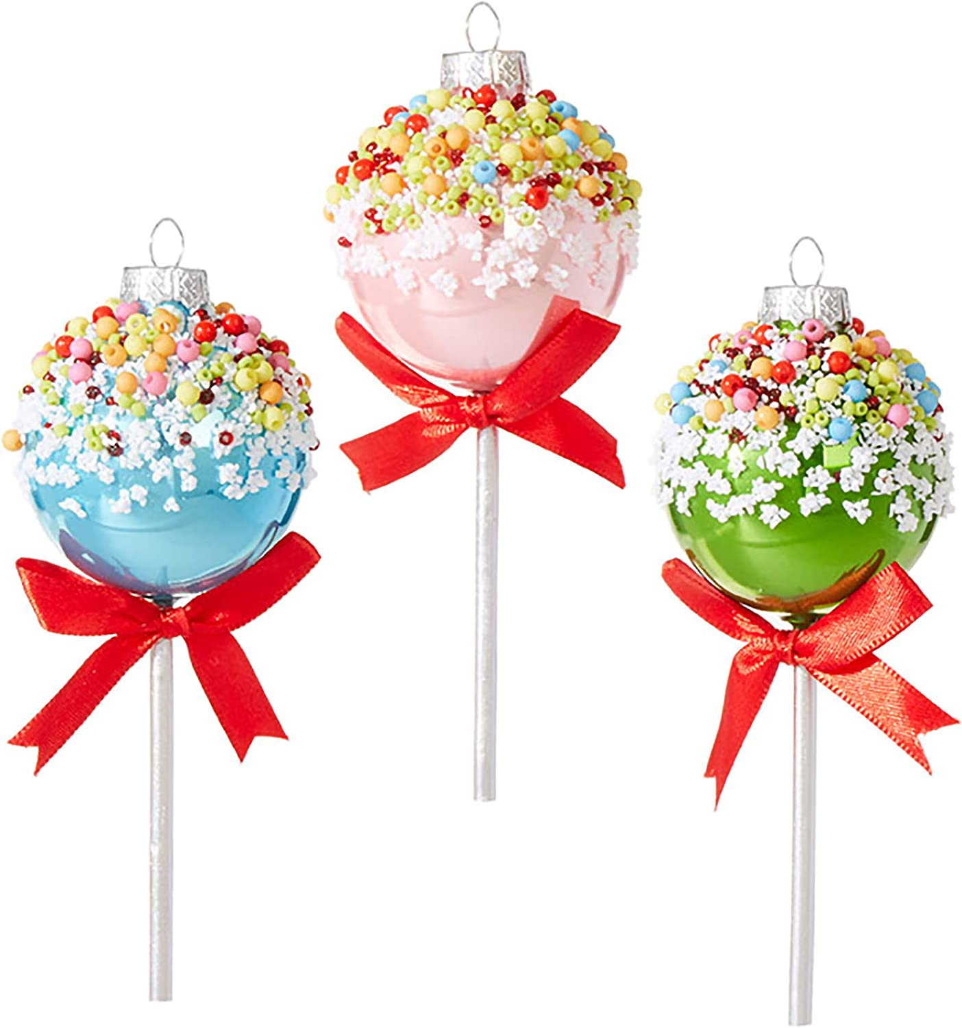 "Set of 3 Raz 5"" Multi Color Cake Pop Glass Christmas Ornament 3952978"