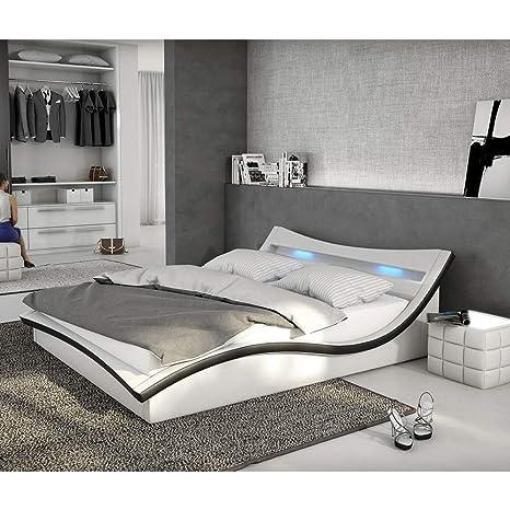 Polster Bett 180x200 Cm Weiß Schwarz Aus Kunstleder Mit Led Beleuchtung Magari Das Kunst Leder Bett Ist Ein Designer Bett Doppel Betten 180 Cm X