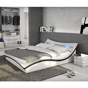 Polster-Bett 180x200 cm weiß-schwarz aus Kunstleder mit LED-Beleuchtung |  Magari | Das Kunst-Leder-Bett ist ein Designer-Bett | Doppel-Betten 180 cm  ...