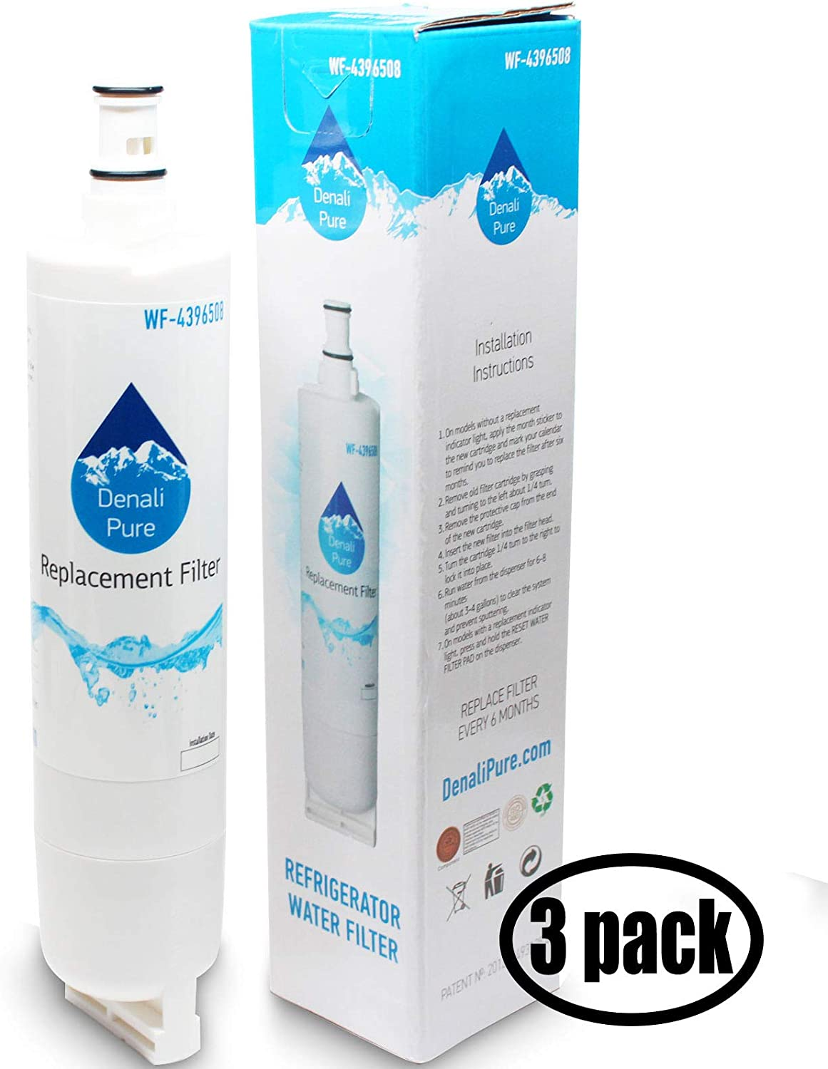 3-Pack Replacement for for Whirlpool 4396508P Refrigerator Water Filter - Compatible with with Whirlpool 4396508P Fridge Water Filter Cartridge