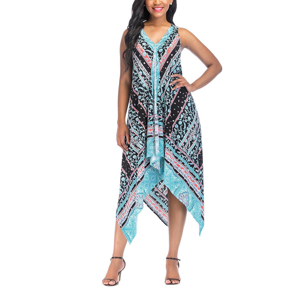 4152b3f7042 ... in summer wear. FEATURES - Ethnic Floral Print   Halter V-Neck    Asymmetrical Handkerchief Hem   Sleeveless   A-Line Dress WAYS TO WEAR -  Easy ...
