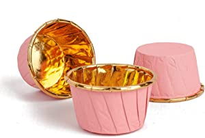 GOLDEN APPLE, Aluminum Foil Paper Mini Cake Baking Cups 50 Pack, Muffin Cupcake Baking Mold Cup Liners Baking Cups for Party Wedding Festival, Small Pink in Gold