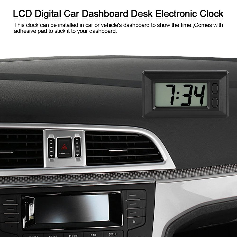Amazon.com: GLOGLOW Portable Clock LCD Digital Table Car Dashboard Desk Electronic Clock Date Time Calendar Display Dashboard with Adhesive Pad: Home & ...