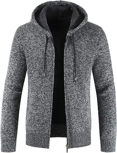 Mens Knitted Cardigan Hoodie Sweater Long Sleeve Sweatshirt with Zip Fleece Lined Knit Winter Warm Jacket Coat