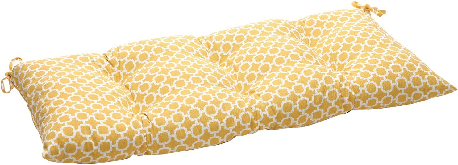 Pillow Perfect Indoor Outdoor Hockley Yellow Swing Bench Cushion