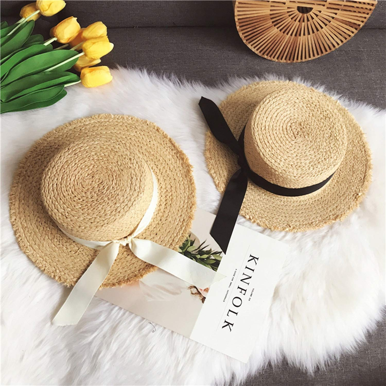 Tamia-Romtic Women Summer Beach Black White Ribbon Hat Bow Hat Flat Straw Hats Womens Sea Beach Hat