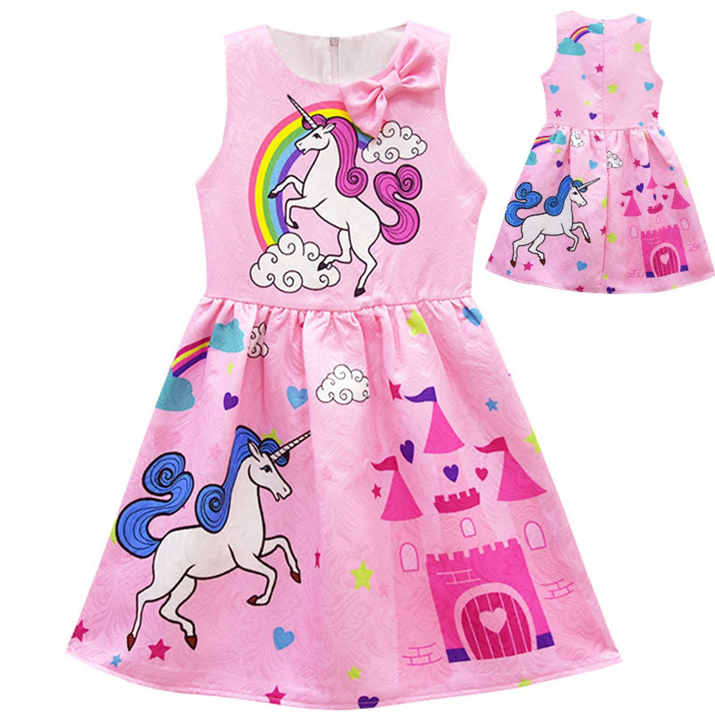 Tiaoqi Unicorn Party Gifts Dress,Summer Sleeveless Bow Crew Neck Floral Dress (XL, Pink) by Tiaoqi