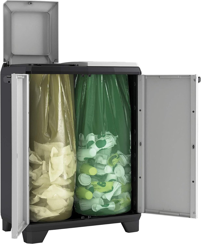 Keter Cubo Split Premium | Sistema de Reciclaje Organizador con 2 Compartimentos | Dimensiones 68 x 39 x 92 cm