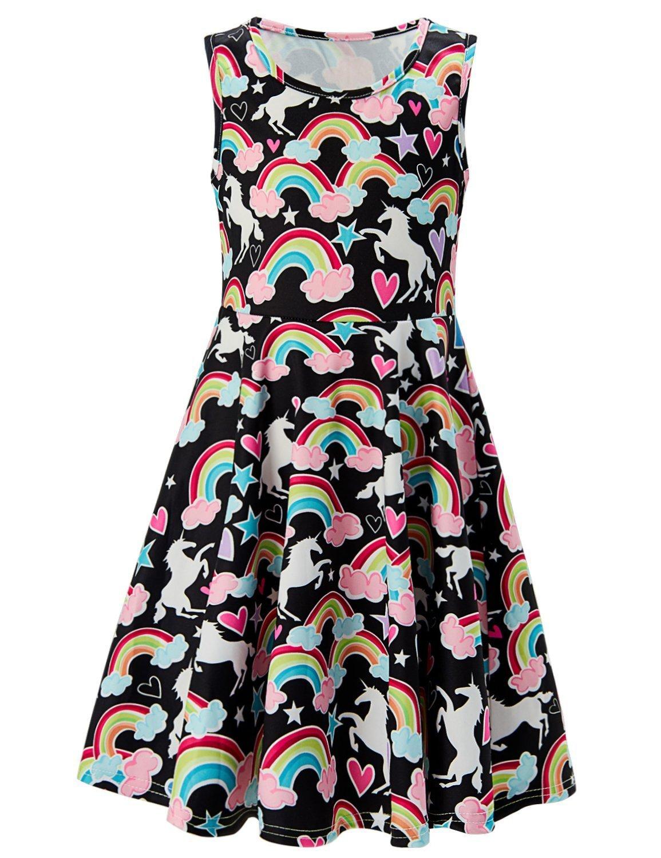 Girls Summer Sleeveless Dress Black Rainbow Unicorn Printed Dress for Kids 10-13T