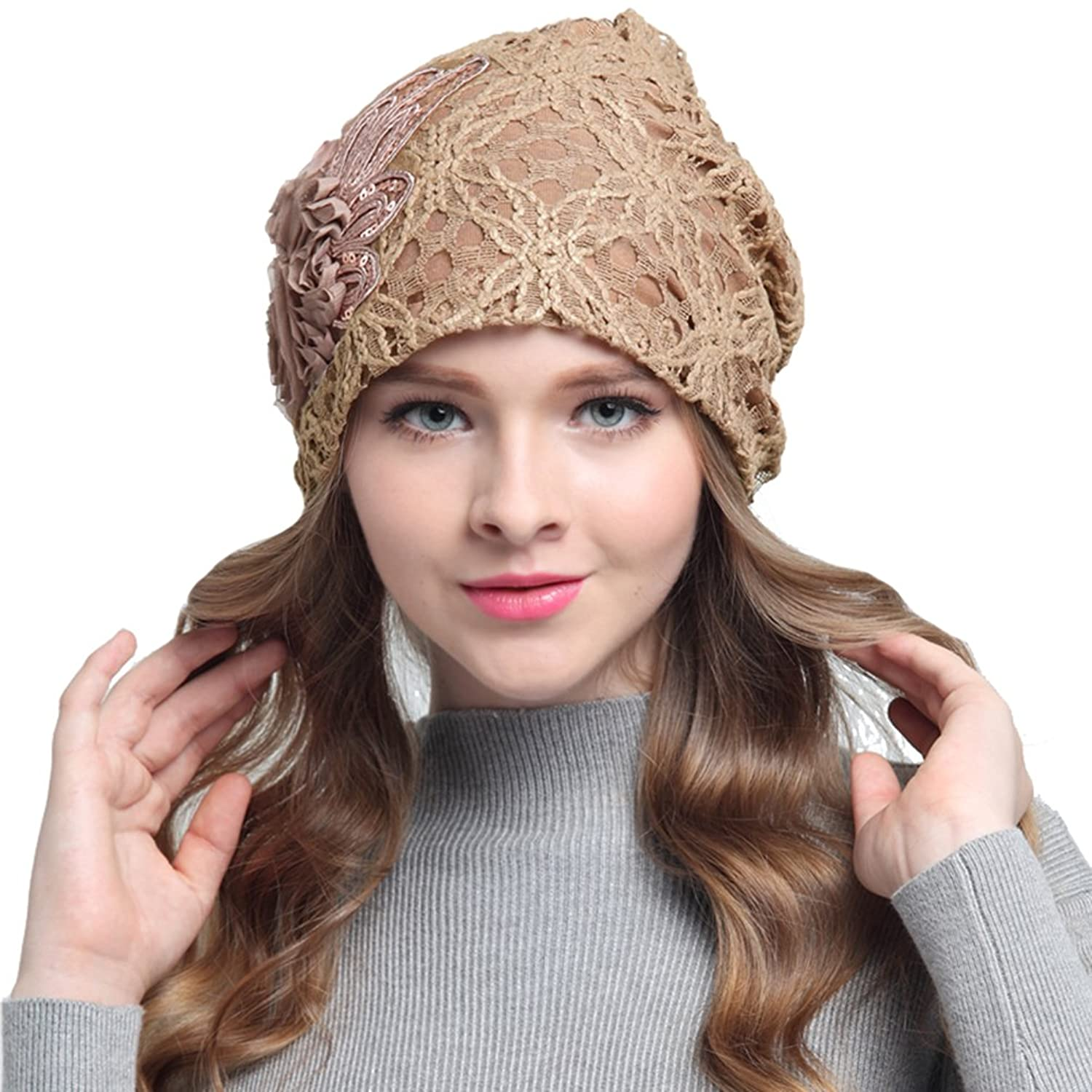 Womens Lace Flower Head Cap Beanie Hat Cap Turban