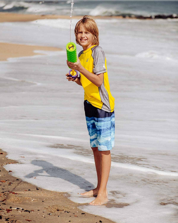 LAGUNA Boys Striped Raglan Crewneck Short Sleeve Loose Fit Rashguard Swim Sun Tee Shirt UPF 50+
