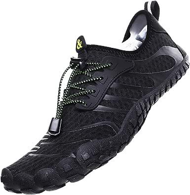 Lvptsh Zapatos de Agua para Hombre Zapatos de Playa Zapatillas Minimalistas de Barefoot Secado Rápido Calcetines de Piel Descalza Escarpines de Verano Deportes Acuáticos,Negro,EU43