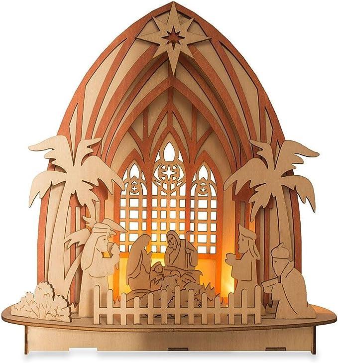 A Bit of Britain Laser Cut Wooden Nativity Set Winter Scene