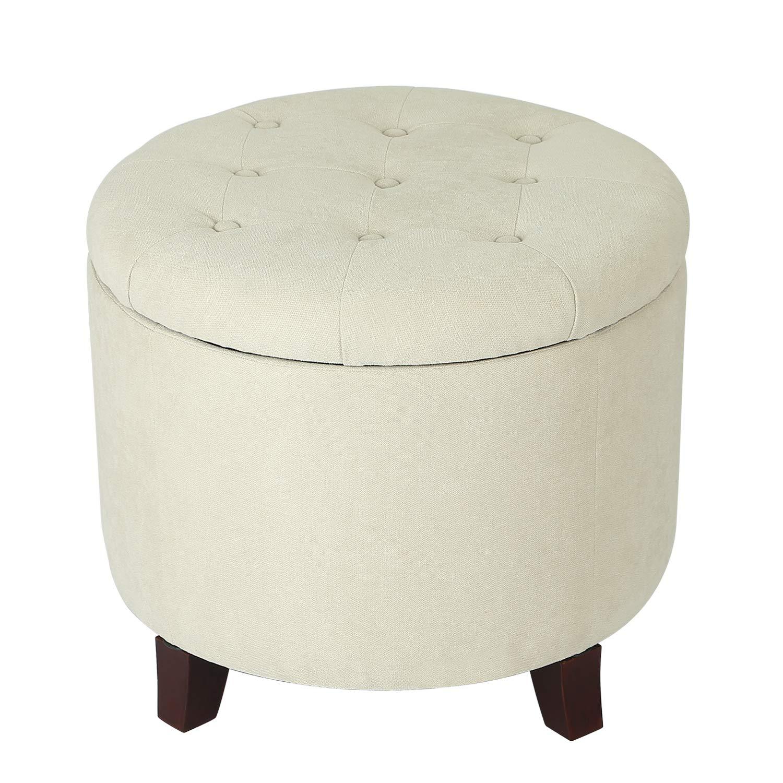 Wondrous Edeco White Round Tufted Fabric Storage Ottoman Machost Co Dining Chair Design Ideas Machostcouk