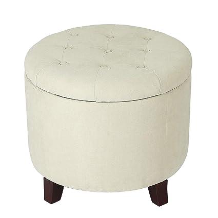 Strange Edeco White Round Tufted Fabric Storage Ottoman Spiritservingveterans Wood Chair Design Ideas Spiritservingveteransorg