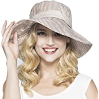 Mujer moda rayas cubo sombreros anti-UV protección solar plegable Floppy  algodón Sun Sombreros pescador c333740c07bb