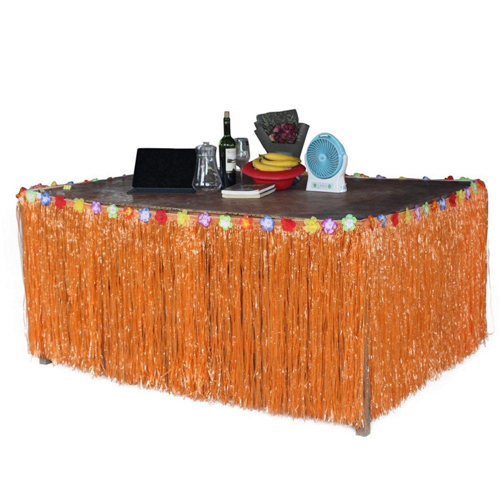 BEETEST Hawaiano estilo de la hierba de la falda de la mesa de ...