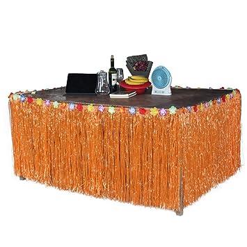 BEETEST Hawaiano estilo de la hierba de la falda de la mesa de accesorios con flores