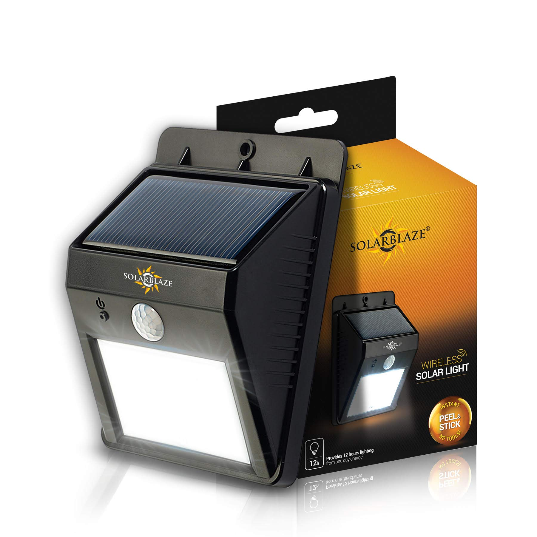 SOLARBLAZE Solar lights Super Bright LED Security Lighting Outdoor |motion sensor wireless security lighting NO TOOLS Easy Peel 'N Stick lights for patio, outside, wall, stairs, home, RV, deck
