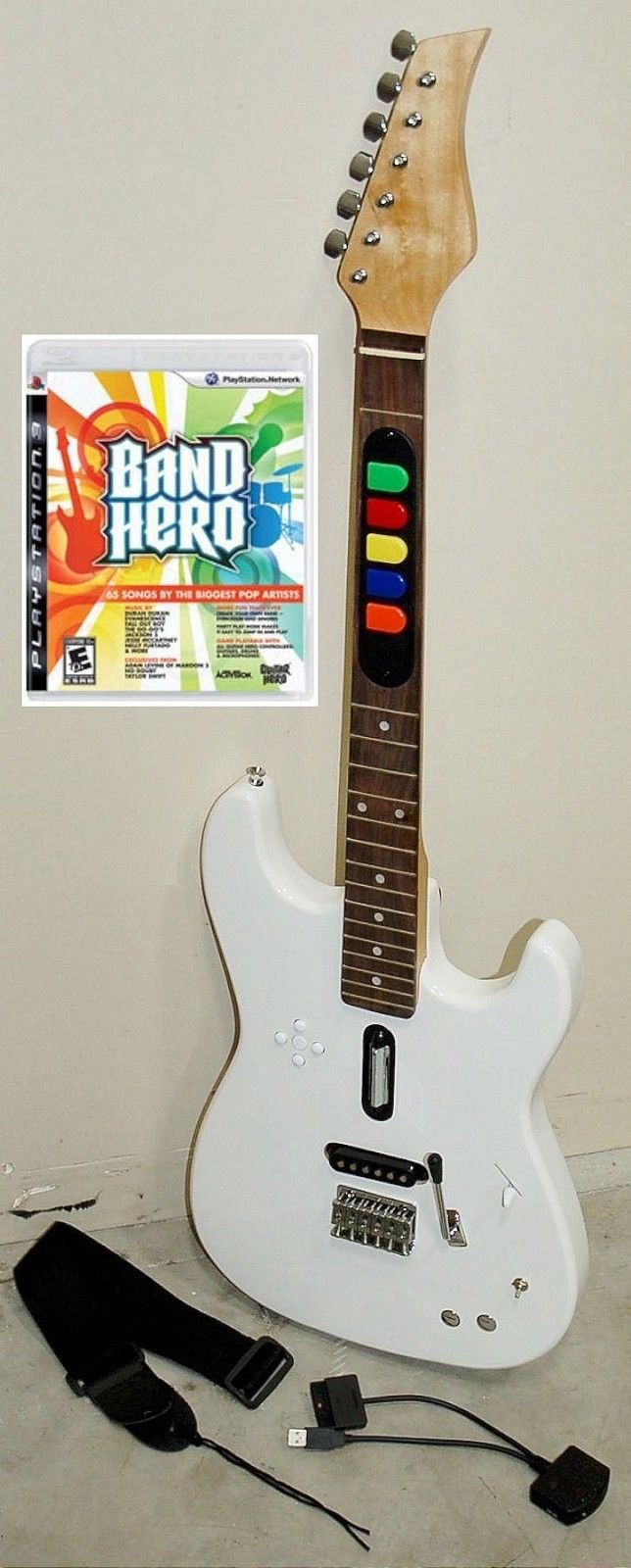 Playstation 3 PS3 Band Hero Video Game + Full Size Wireless WHITE Guitar Controller REAL WOOD play rock music hero band