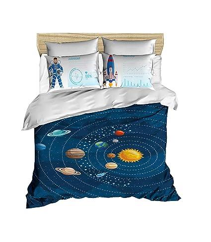 22e68b3585134b paradise RANFORCE 100% Cotton 3D Printed Space Astronaut Bedding Set,  Universe Planet Solar System