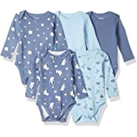 Hanes Ultimate Baby Baby-Boys BF2BS5 Flexy 5 Pack Long Sleeve Bodysuits Bodystocking - Multi