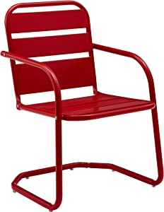 Crosley Furniture CO1030-RE Brighton Retro Metal Chair, Set of 2, Red