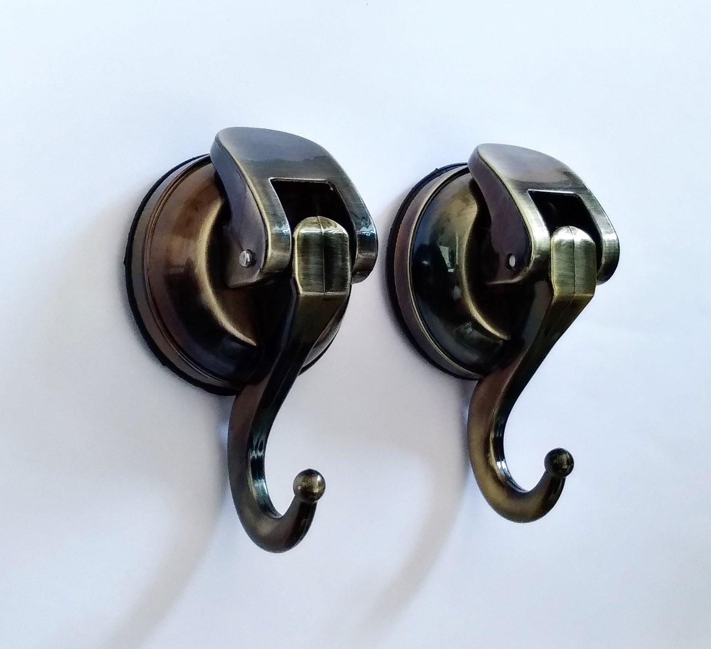 Togu PB57-L02-AB ABS Vacuum Thick Rubber Suction Cup Hooks,Removable Heavy Duty Suction Cup Hooks, as Cup Holder, Key Hook, Towel/Coat/hat/Handbag Hook/Holder, Bathroom Storage, Antique Bronze,2pcs