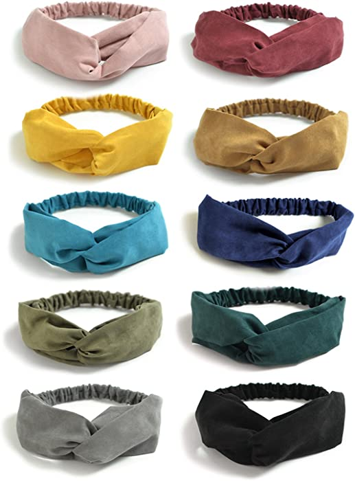 72c7ae48ef7 DRESHOW Boho Solid Headbands for Women Vintage Criss Cross Knotted ...
