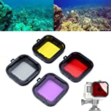 ASIV 4pcs Underwater Sport Diving Filter Lens for GoPro 3+ 4 standard Housing, color correnction accessories (Red + Yellow + Grey + Purple)