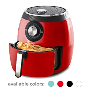 Dash DFAF455GBRD01 Deluxe Electric Air Fryer + Oven Cooker with Temperature Control, Non Stick Fry Basket, Recipe Guide + Auto Shut off Feature 6qt Red (Renewed)