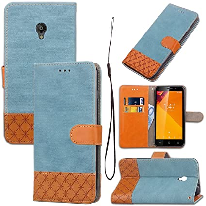 Wkae Mixed Color Stitching Leather Stand Pouch Case with Card Slots for Vodafone Smart Turbo 7