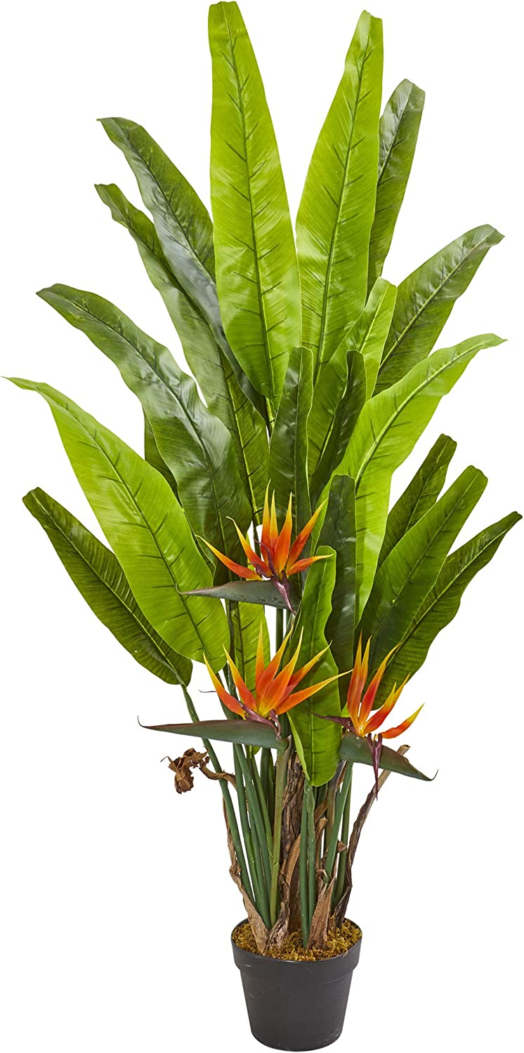 Nearly Natural 4.5' Bird of Paradise Artificial Silk Plants, Green