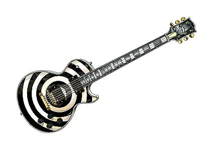 Zakk Wylde Gibson Les Paul personalizado Bullseye guitarra POSTER PRINT A1 tamaño