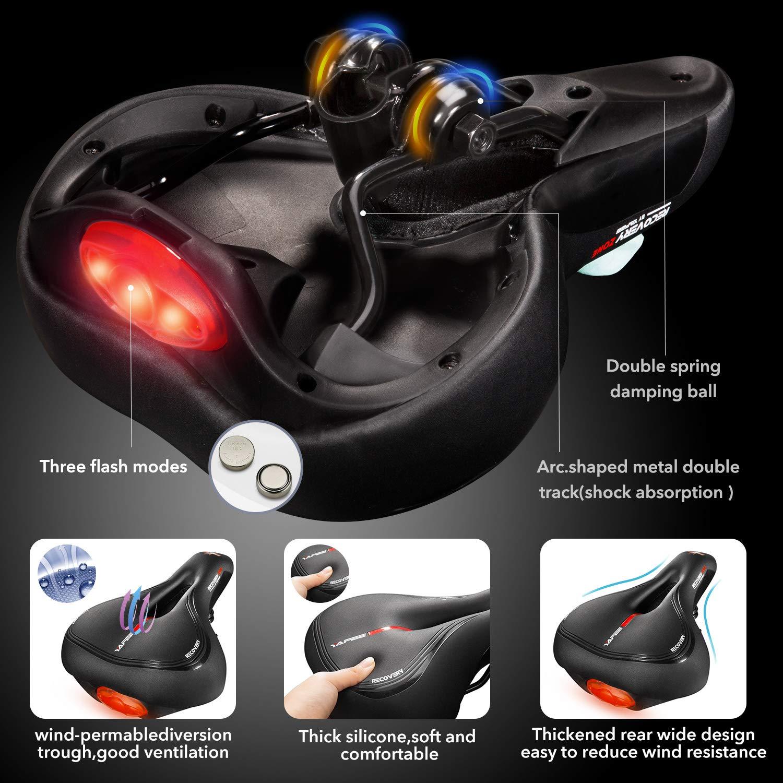 SHINYEVER Fahrradsattel PU Leder mit Rücklicht Ergonomisches Hohl Design Fahrradsitz Wasserdichter Atmungsaktiver Tourensattel mit Kloben Unisex