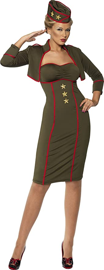1940s Day Dress Styles, House Dresses Smiffys Womens Army Girl Dress Costume  AT vintagedancer.com