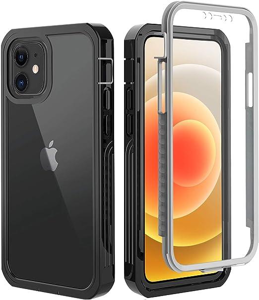 """OWKEY Funda para iPhone 12 Mini + Pantalla Protector Integrado Sellada,Carcasa Transparente 360°Antigolpes,Funda para iPhone 12 Mini -5.4"""""""