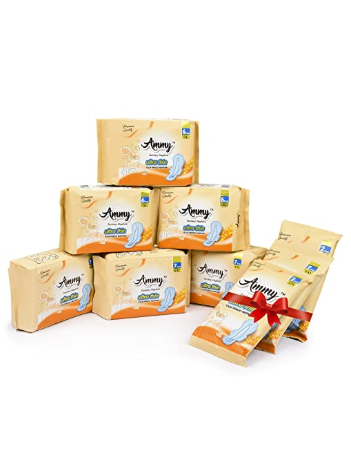 Ammy Set Of 6 Ultra Thin XXL Rashes Free Sanitary Pads will get 6 Sanitary  Pad Free (Pack of 9)