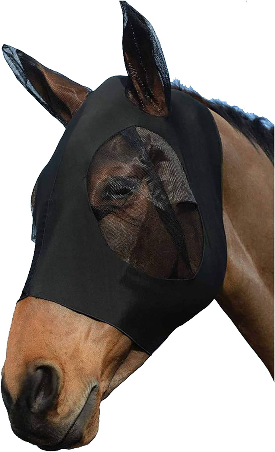 Ciraume Horse Insect Fine Mesh Fly Mask Anti-UV with Ears Armour Shield Fly Protector for Cob//Pony Horse, Pink