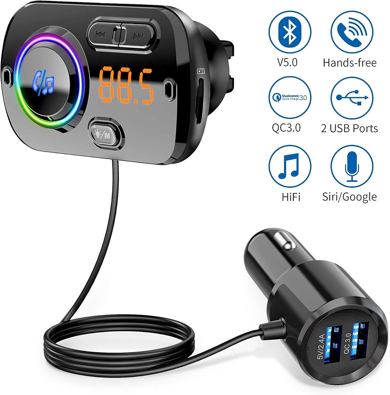 【2020 Versión】 Transmisor FM Bluetooth 5.0 Manos Libres Coche con 7 Colores Luz, Reproductor MP3 Coche Carga Rapida QC3.0, 2 USB 5V/3A&2.4A Inalámbrico Kit de Coche Soporte Tarjeta TF 32G, AUX, SI