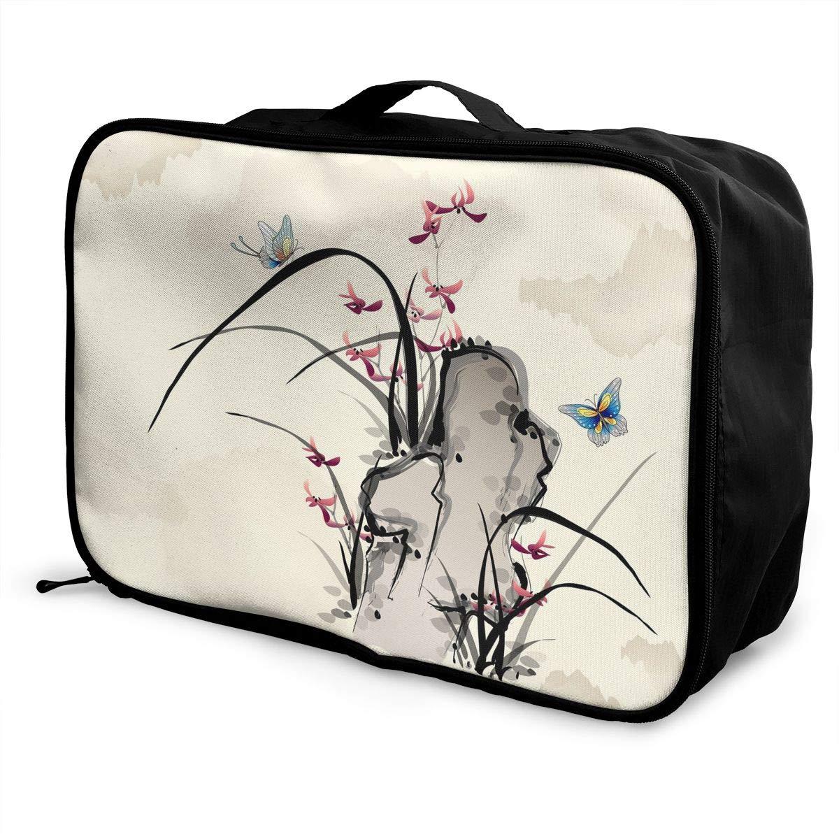 Travel Luggage Duffle Bag Lightweight Portable Handbag Flowers Butterfly Large Capacity Waterproof Foldable Storage Tote