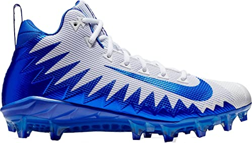 reputable site 293ab 3dd36 NIKE Men s Alpha Menace Pro Mid Football Cleat White Game Royal Photo Blue  Size