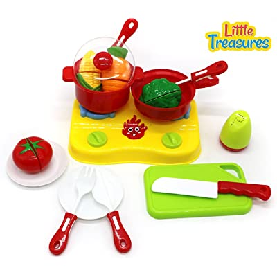 Little Treasures Healthy Organic Kitchen Cooking Pretend Playset Toy Includes Counter Top Range Cooking Station Toy Vegetables Serving Tools with Utensils and Plates