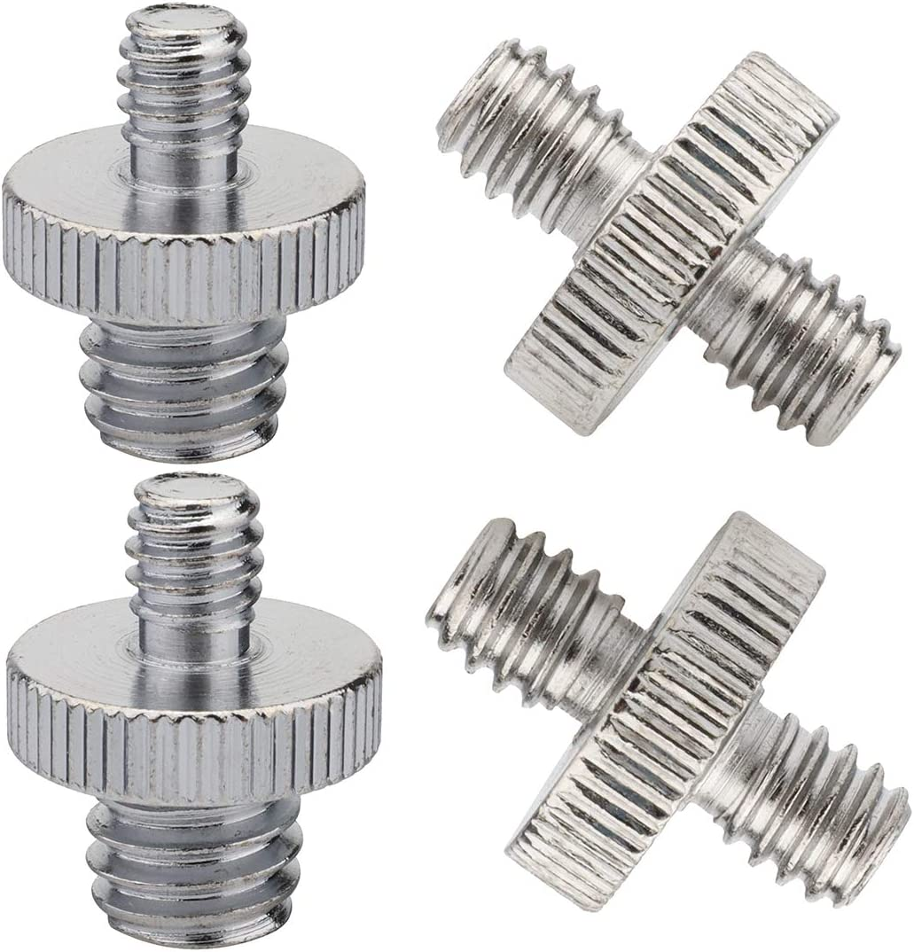 Pack of 4 Pieces, International Standard 1/4 Male to 1/4 Male, 1/4 External Thread to 3/8 External Thread, Precision Manufactured Tripod Screw Adapter, Standard Tripod Mount Camera Screw Adapter.