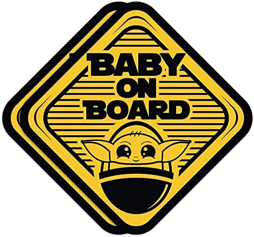 Truck 2 Pack Super Cute Baby Yoda on Board Vinyl Decal Stickers for Car Vehicle Window or Bumper
