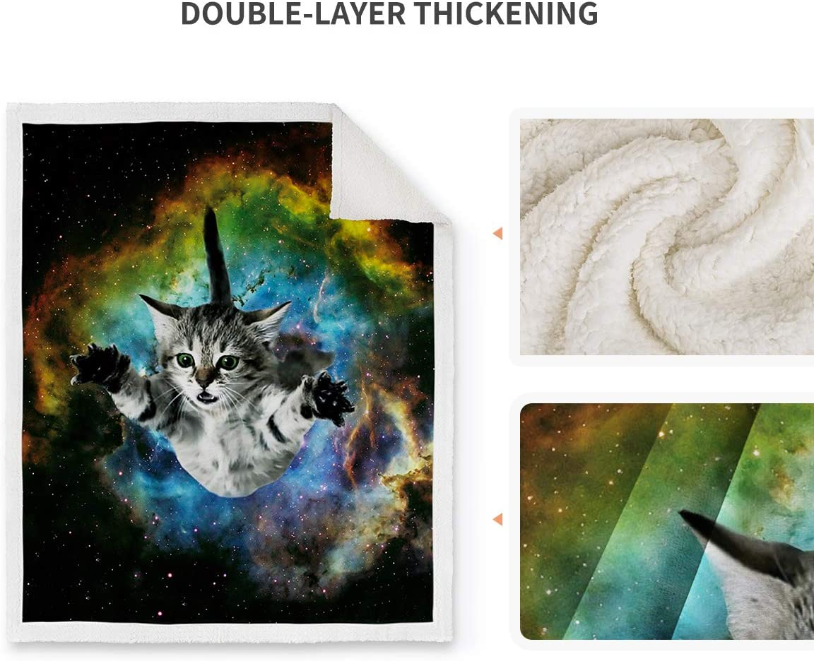 Jekeno Owl Sherpa Blanket Print Comfort Soft Warm Glow Owl Throw Blanket for Kids Adults Gift 50x60
